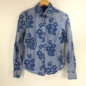 Boden 10 Blue Floral Striped Button Down Blouse